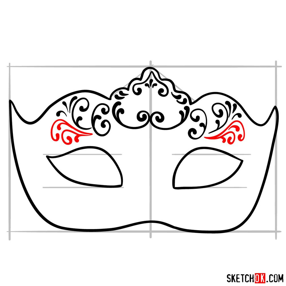 How to draw a Venetian carnival mask - step 09