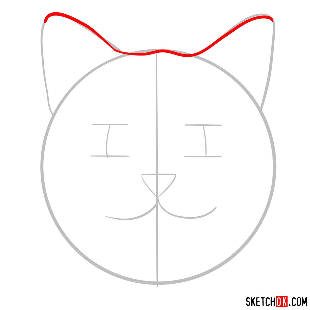 How to draw a silly cat mask - step 03