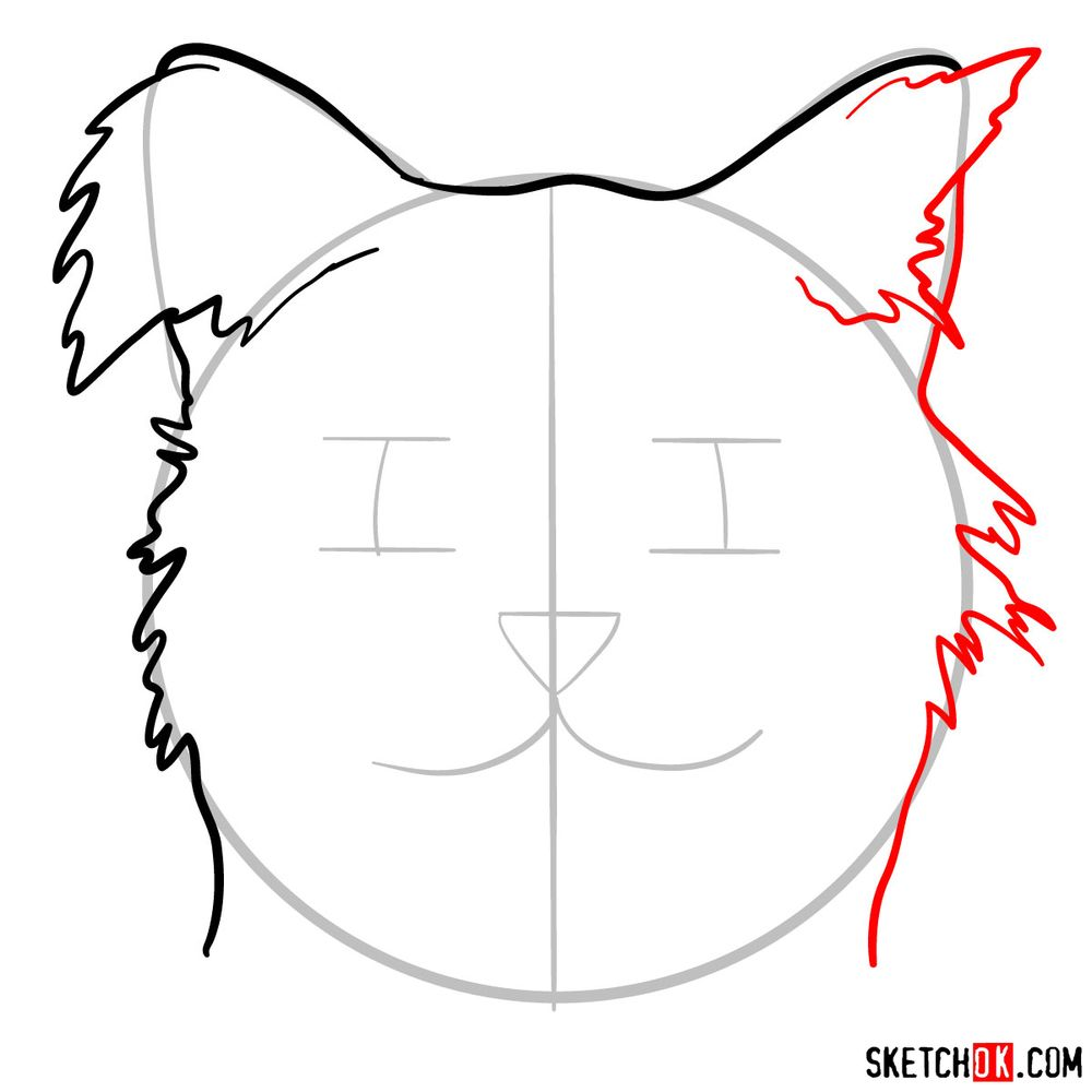 How to draw a silly cat mask - step 05