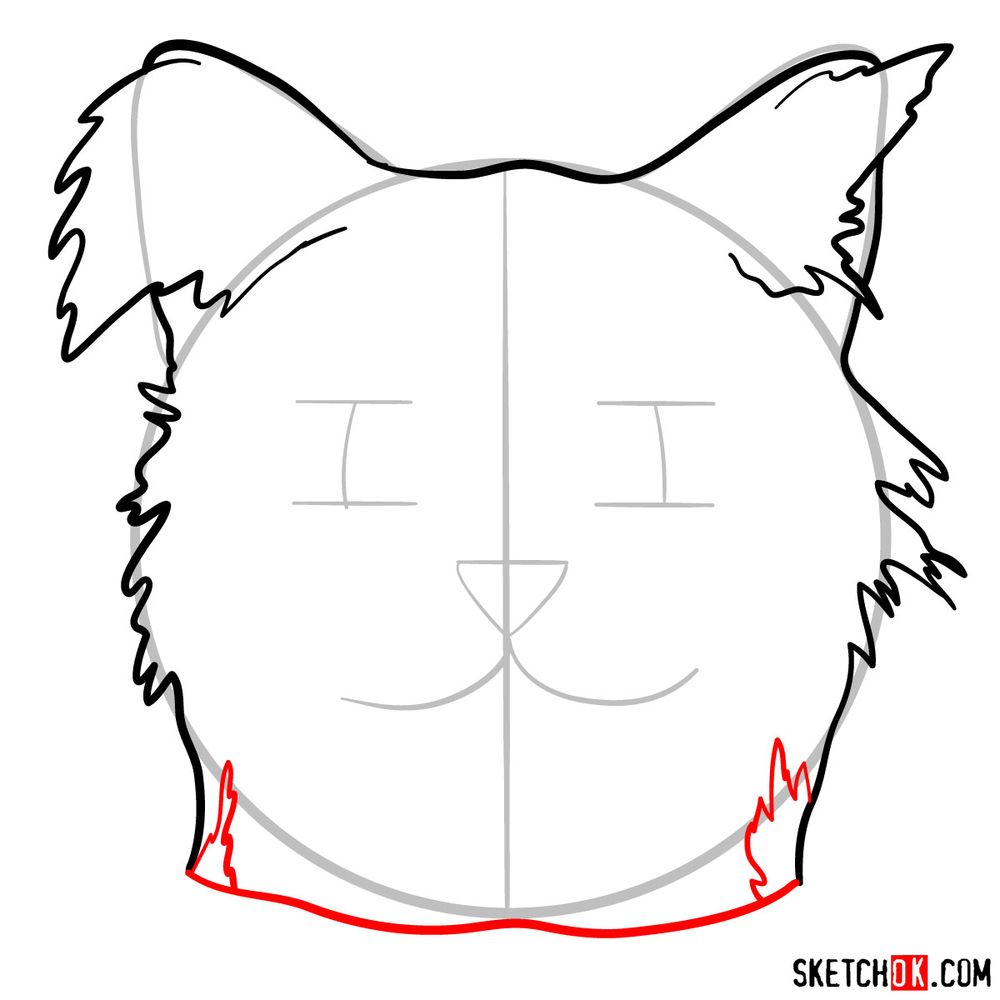 How to draw a silly cat mask - step 06