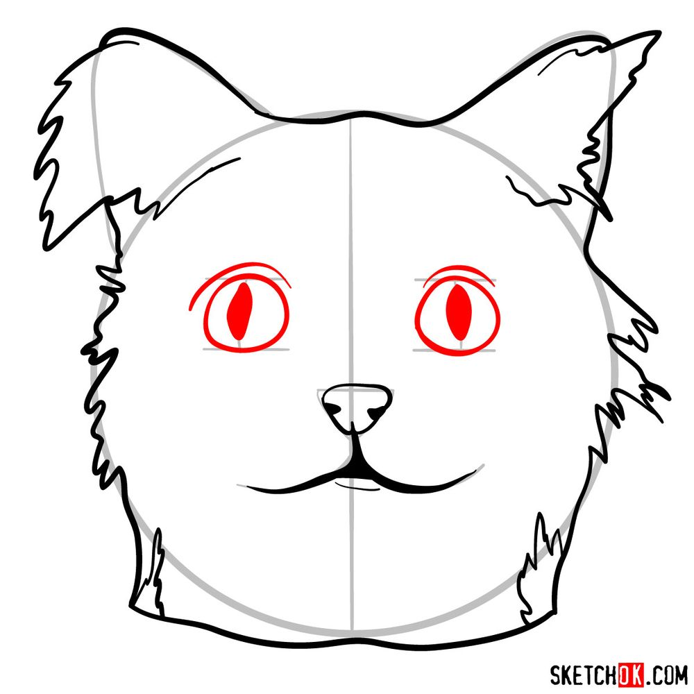 How to draw a silly cat mask - step 08