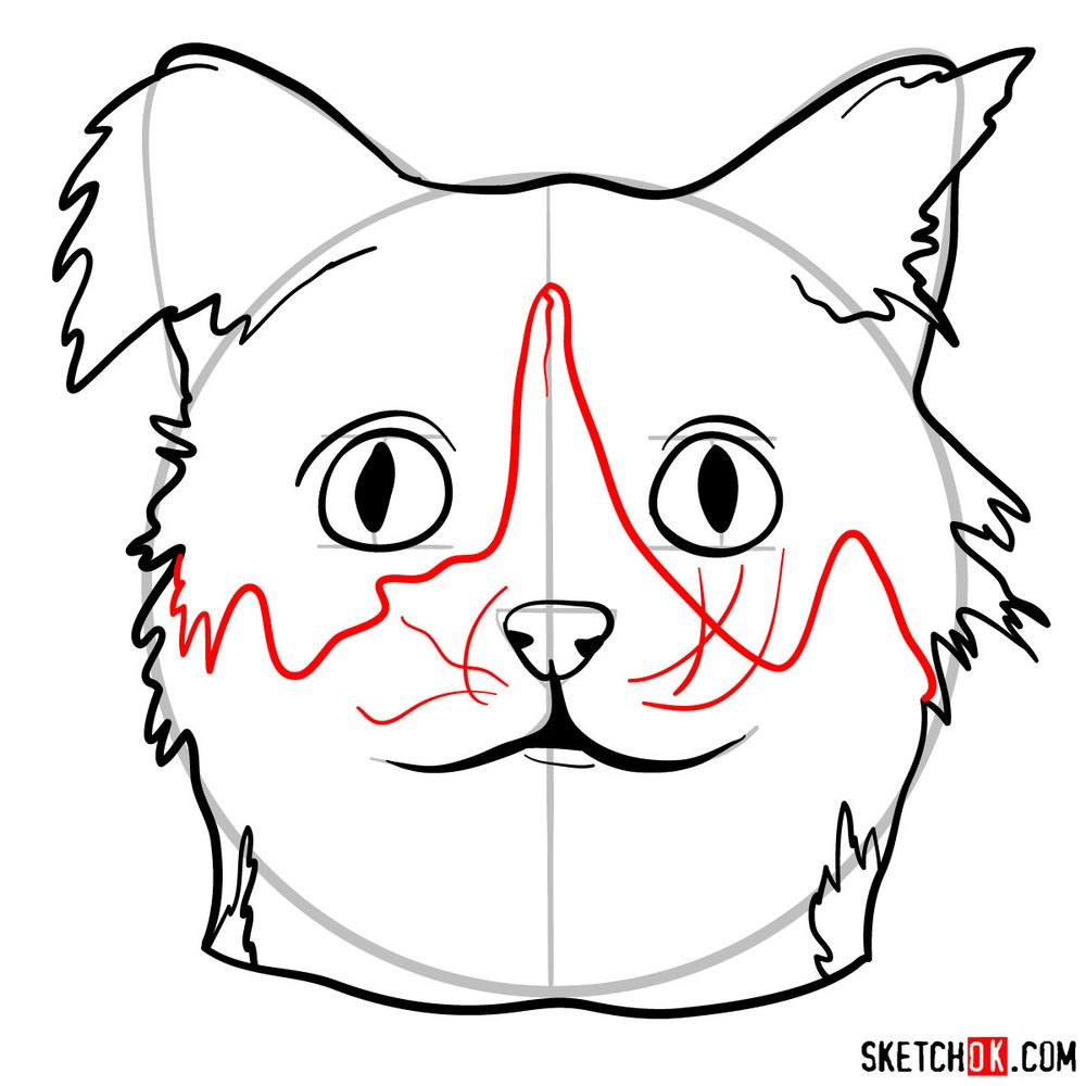 How to draw a silly cat mask - step 09