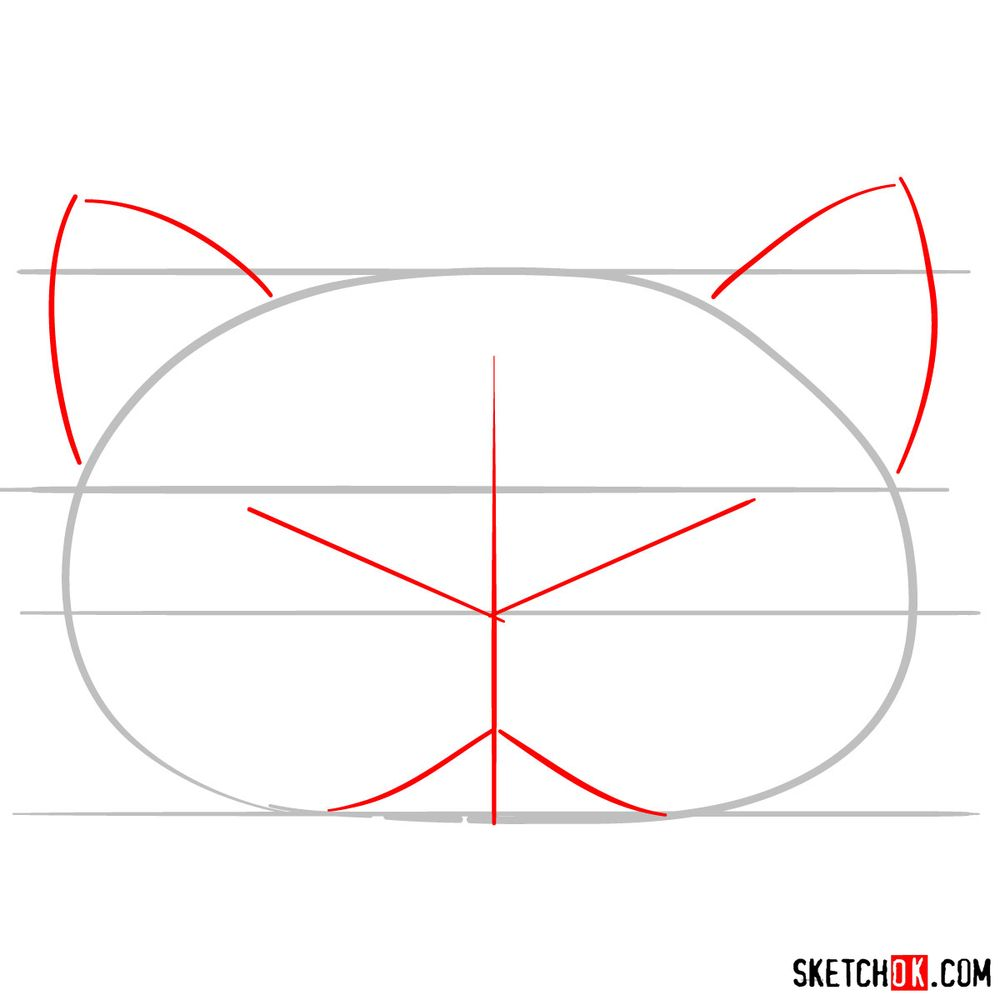 How to draw a kitten mask - step 02