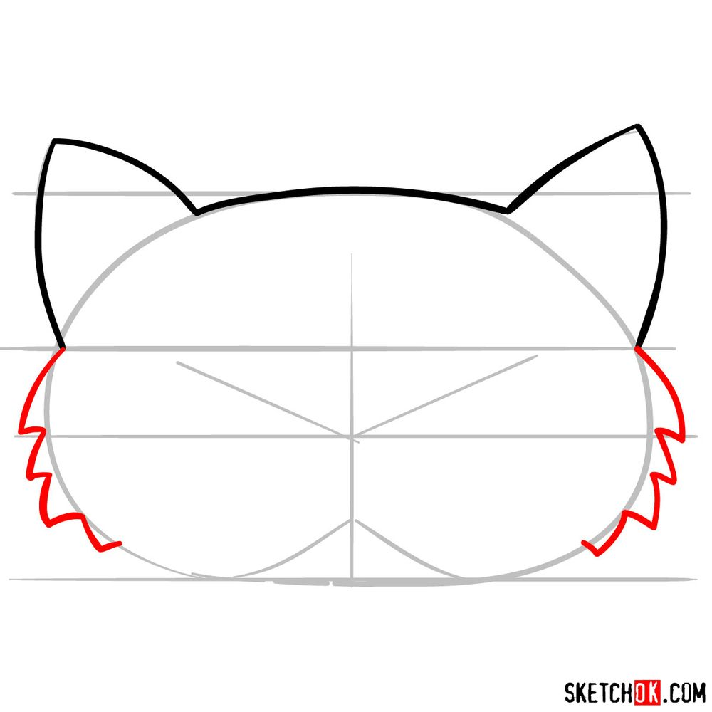 How to draw a kitten mask - step 04