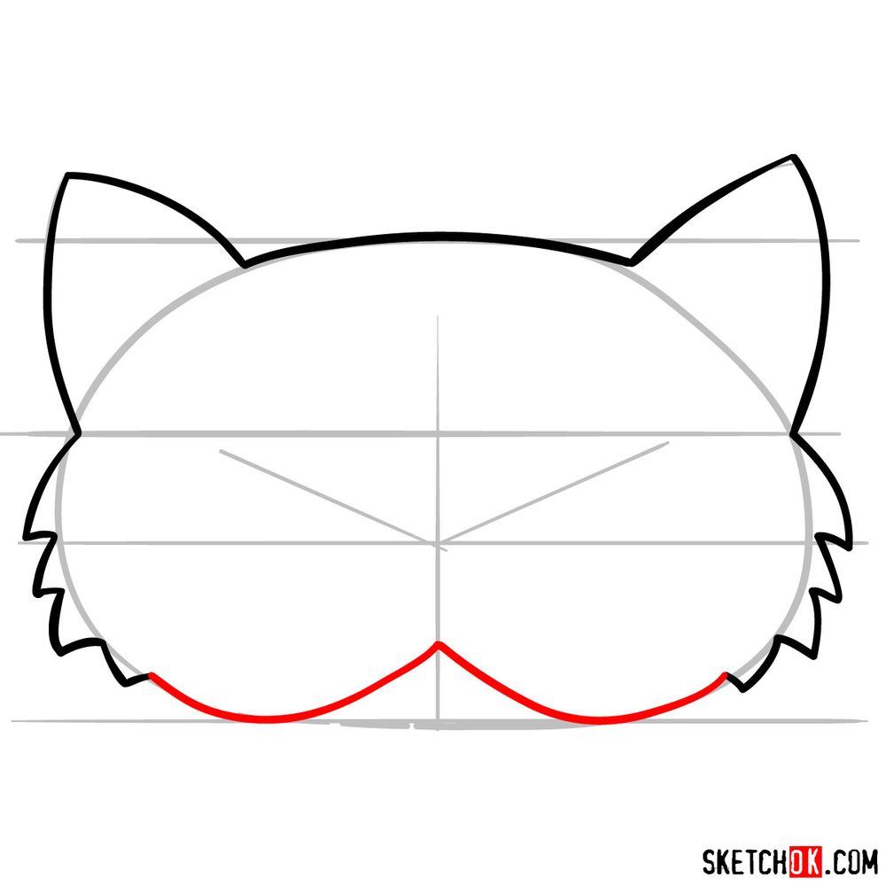How to draw a kitten mask - step 05
