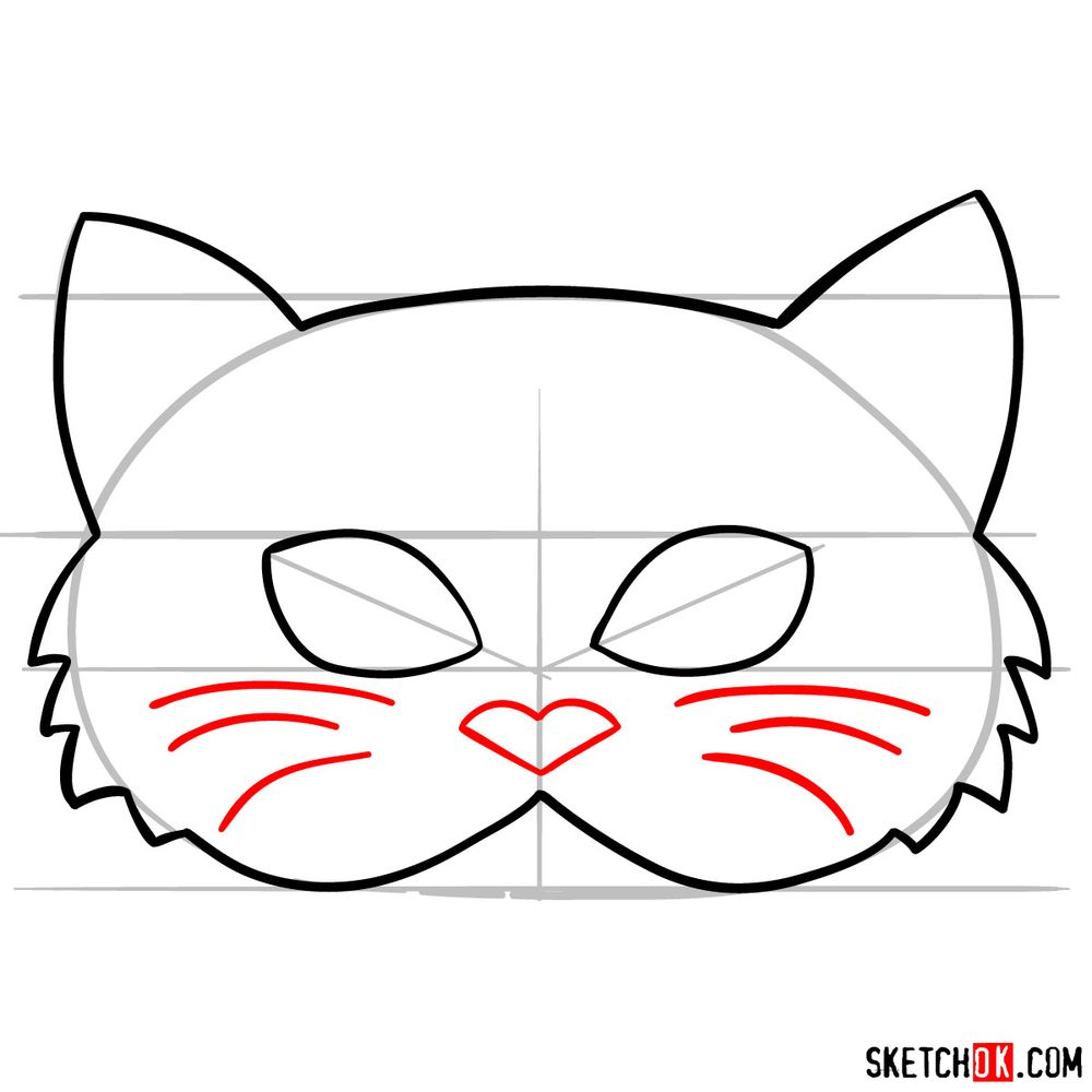How to draw a kitten mask - step 07