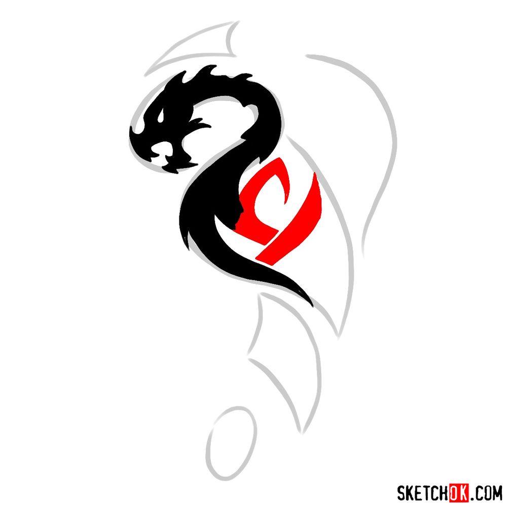 How to draw Tribal Dragon tattoo - step 06