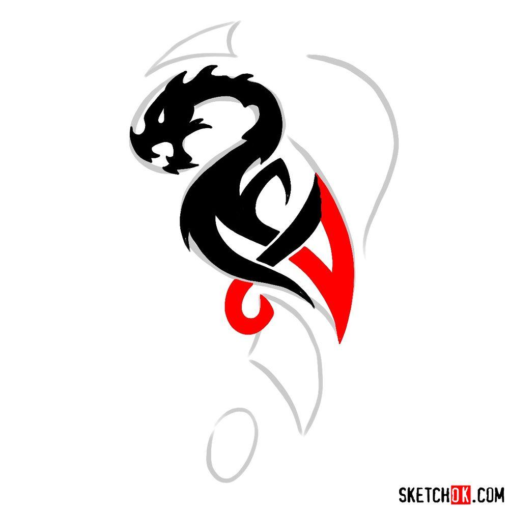 How to draw Tribal Dragon tattoo - step 07