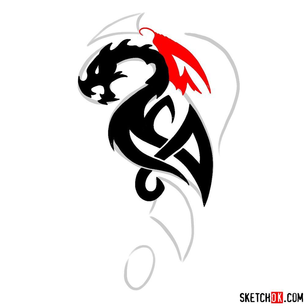 How to draw Tribal Dragon tattoo - step 08