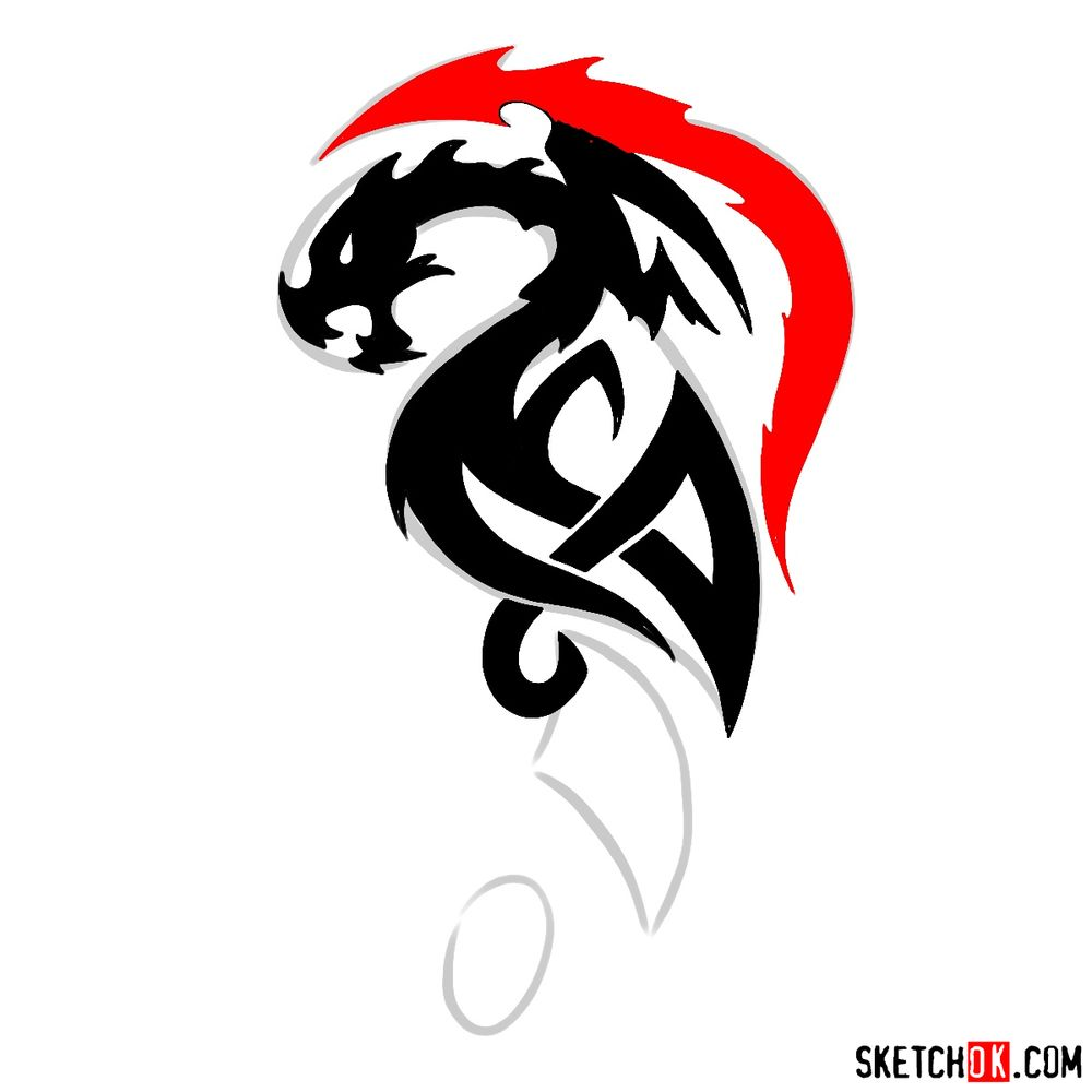 How to draw Tribal Dragon tattoo - step 09