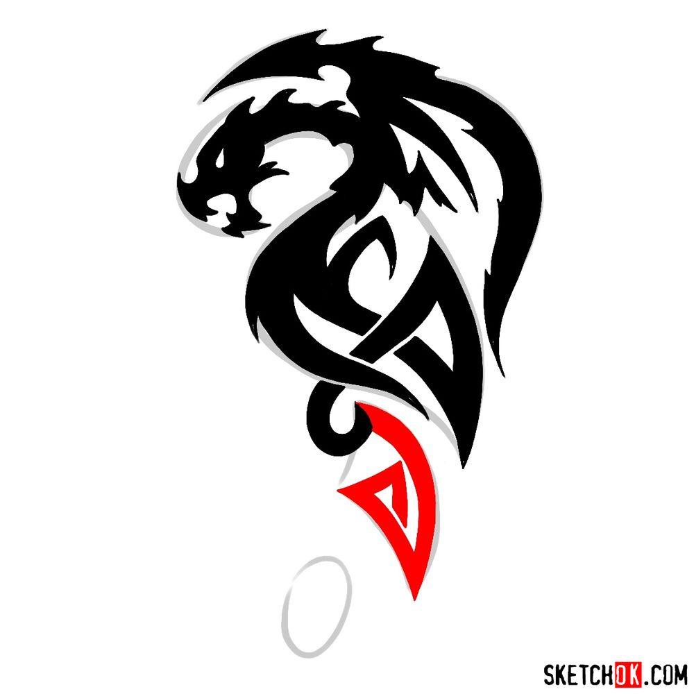 How to draw Tribal Dragon tattoo - step 10