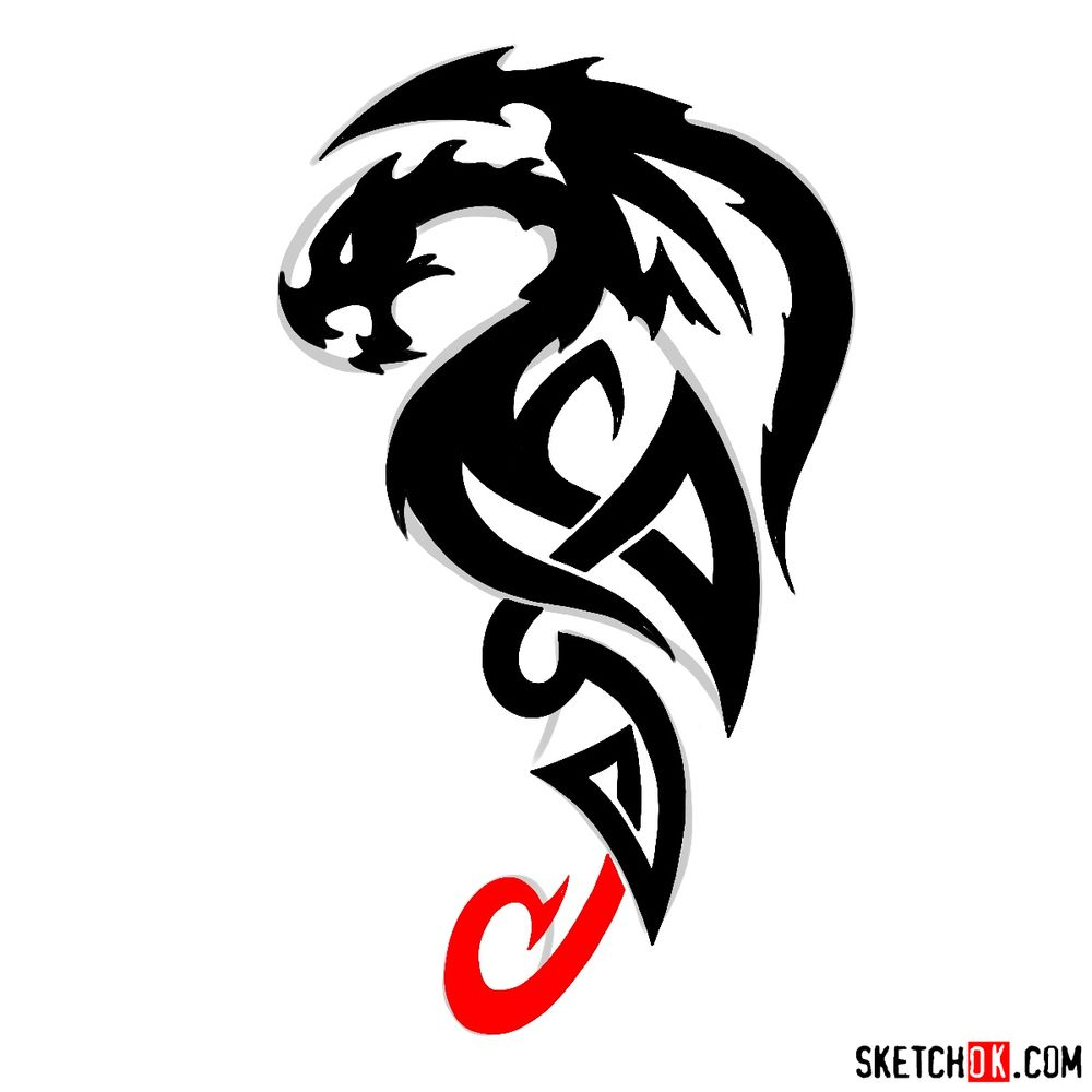 How to draw Tribal Dragon tattoo - step 11