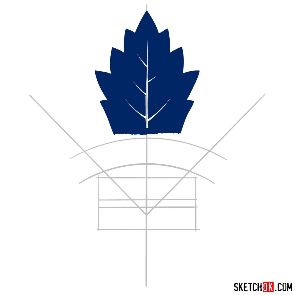 How to draw The Toronto Maple Leafs logo - step 05