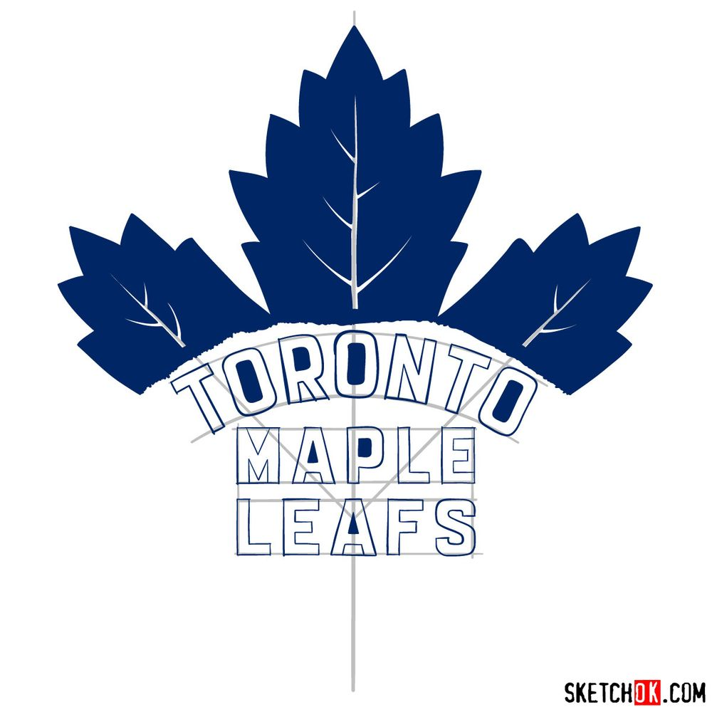 How to draw The Toronto Maple Leafs logo - step 14