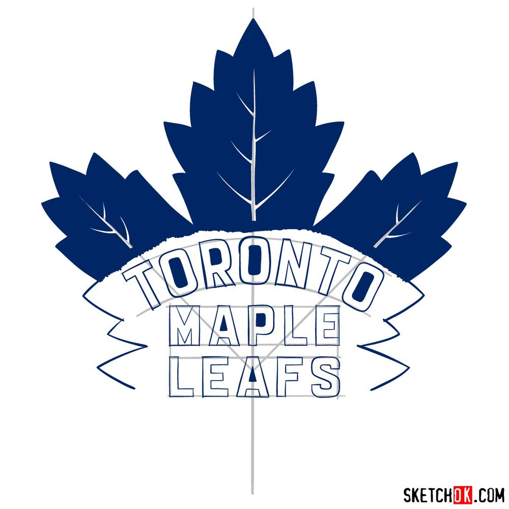 How to draw The Toronto Maple Leafs logo - step 15