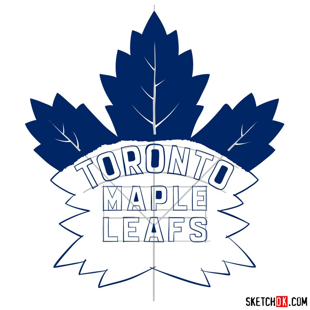 How to draw The Toronto Maple Leafs logo - step 16
