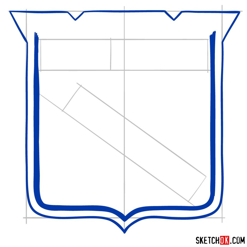 How to draw The New York Rangers logo - step 05