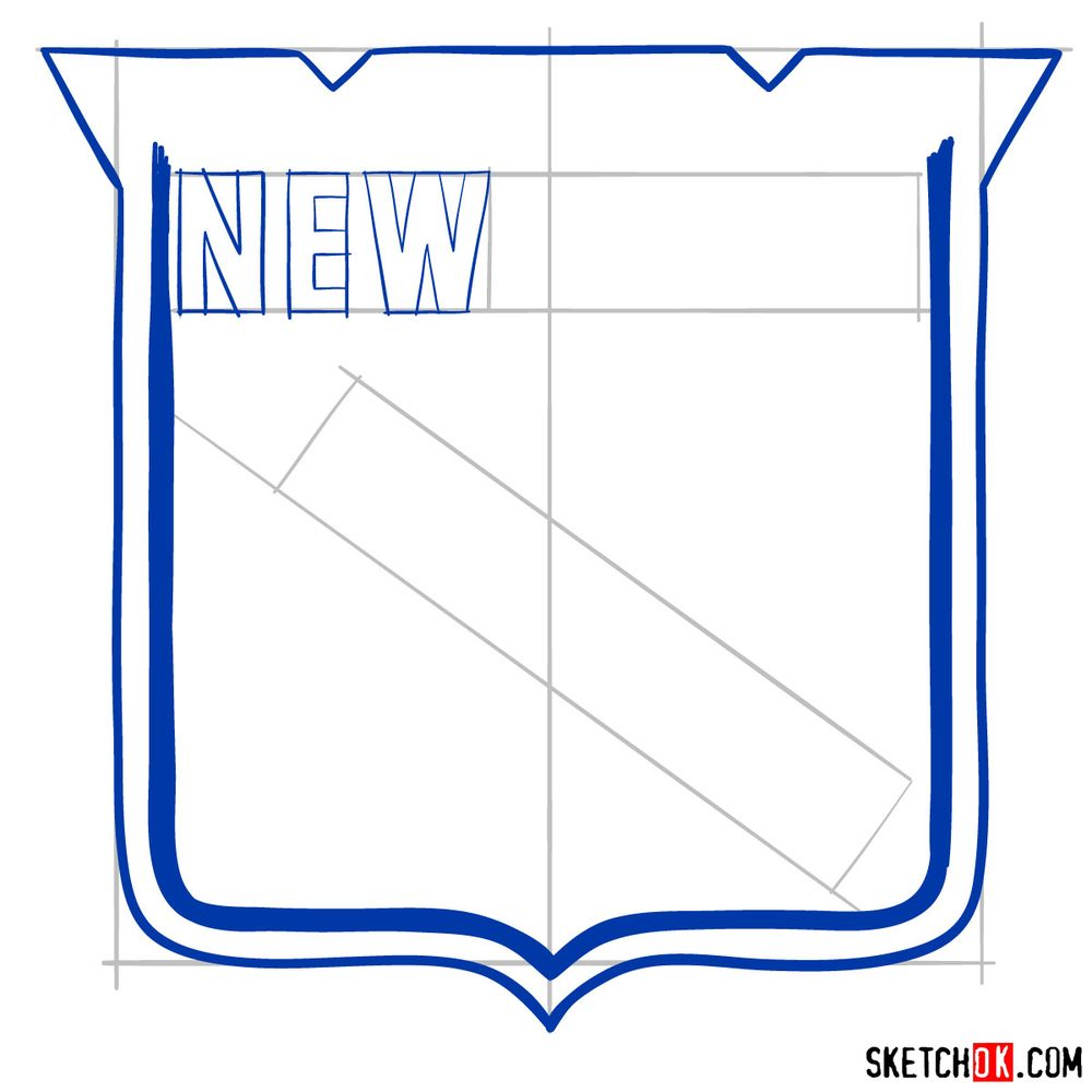 How to draw The New York Rangers logo - step 06