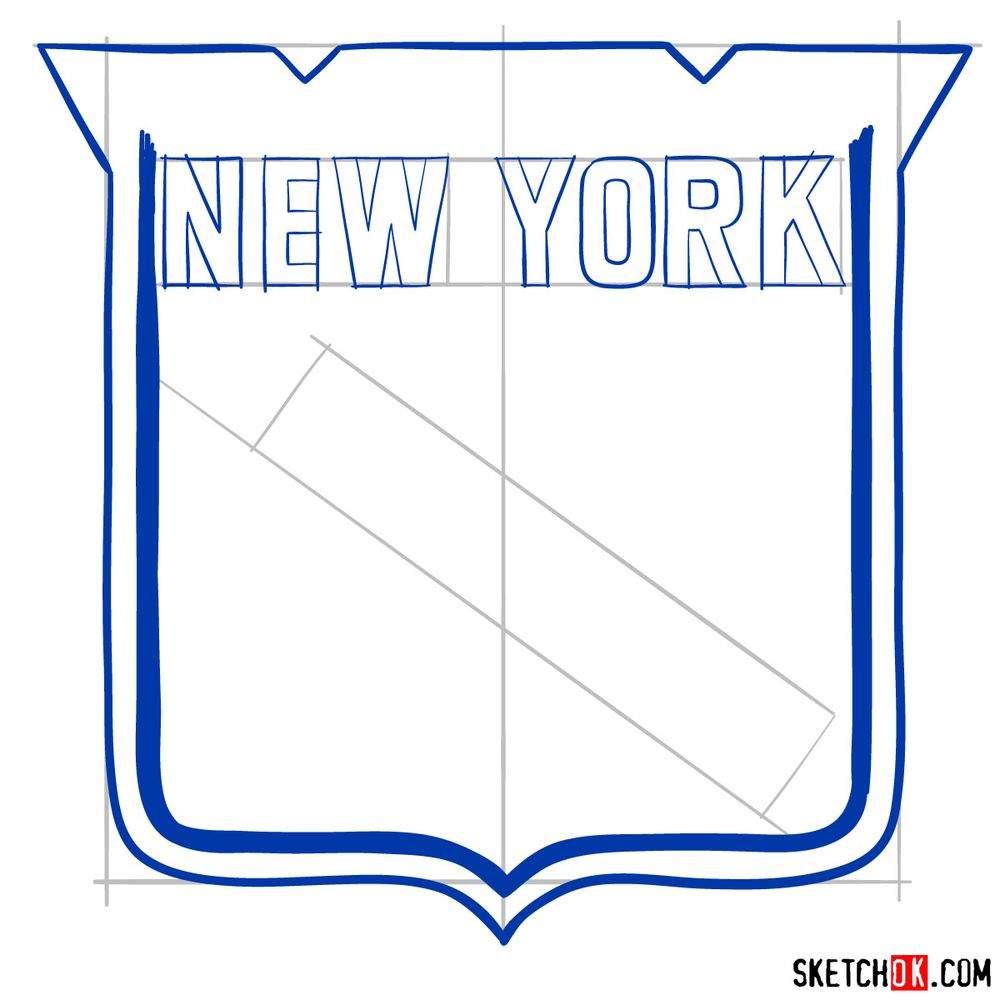 How to draw The New York Rangers logo - step 07