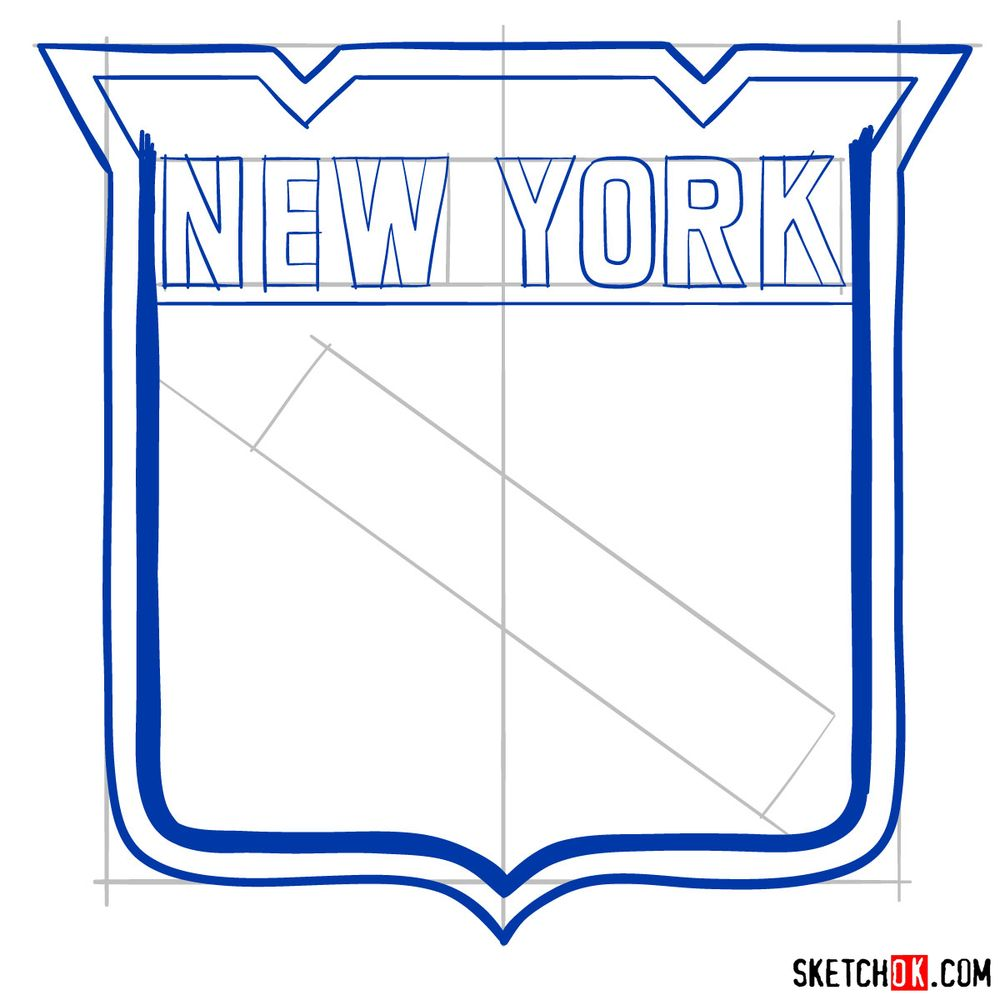 How to draw The New York Rangers logo - step 08