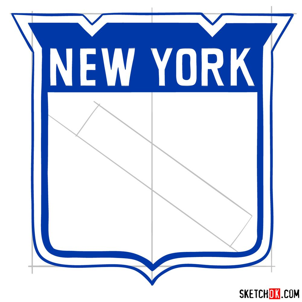 How to draw The New York Rangers logo - step 09