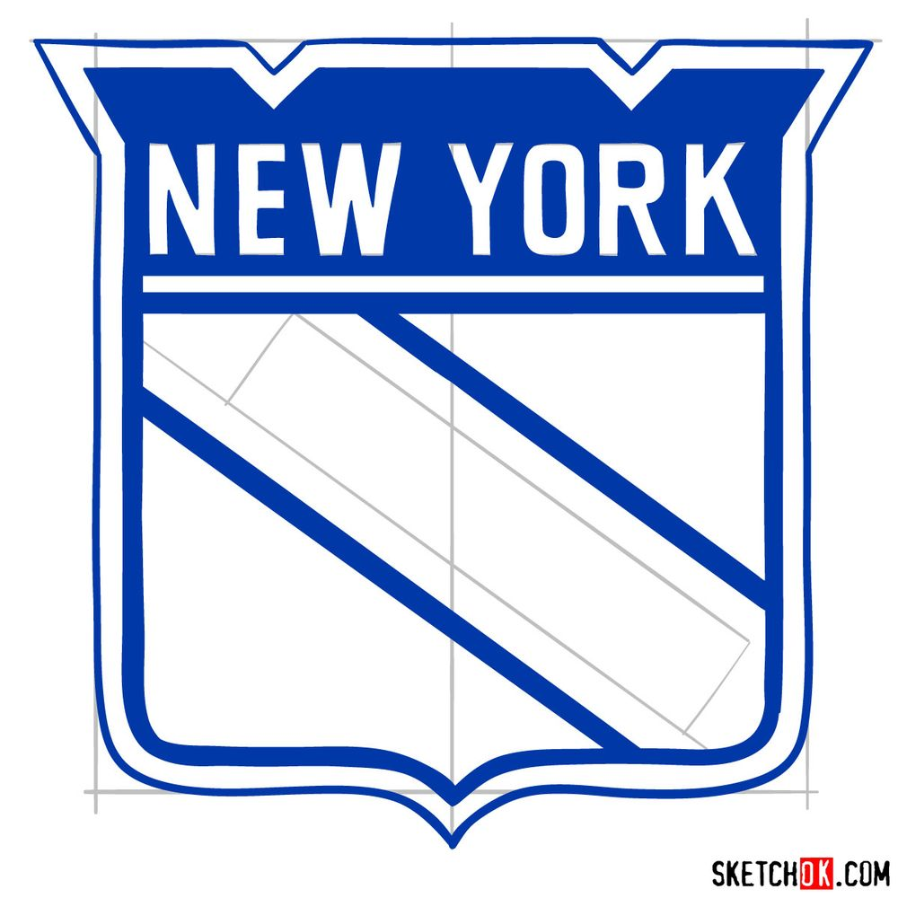 How to draw The New York Rangers logo - step 10