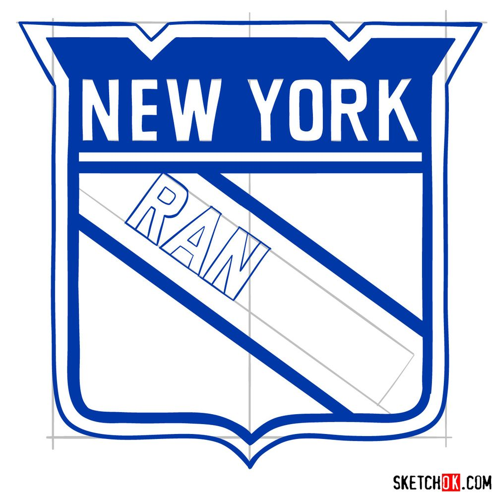 How to draw The New York Rangers logo - step 11