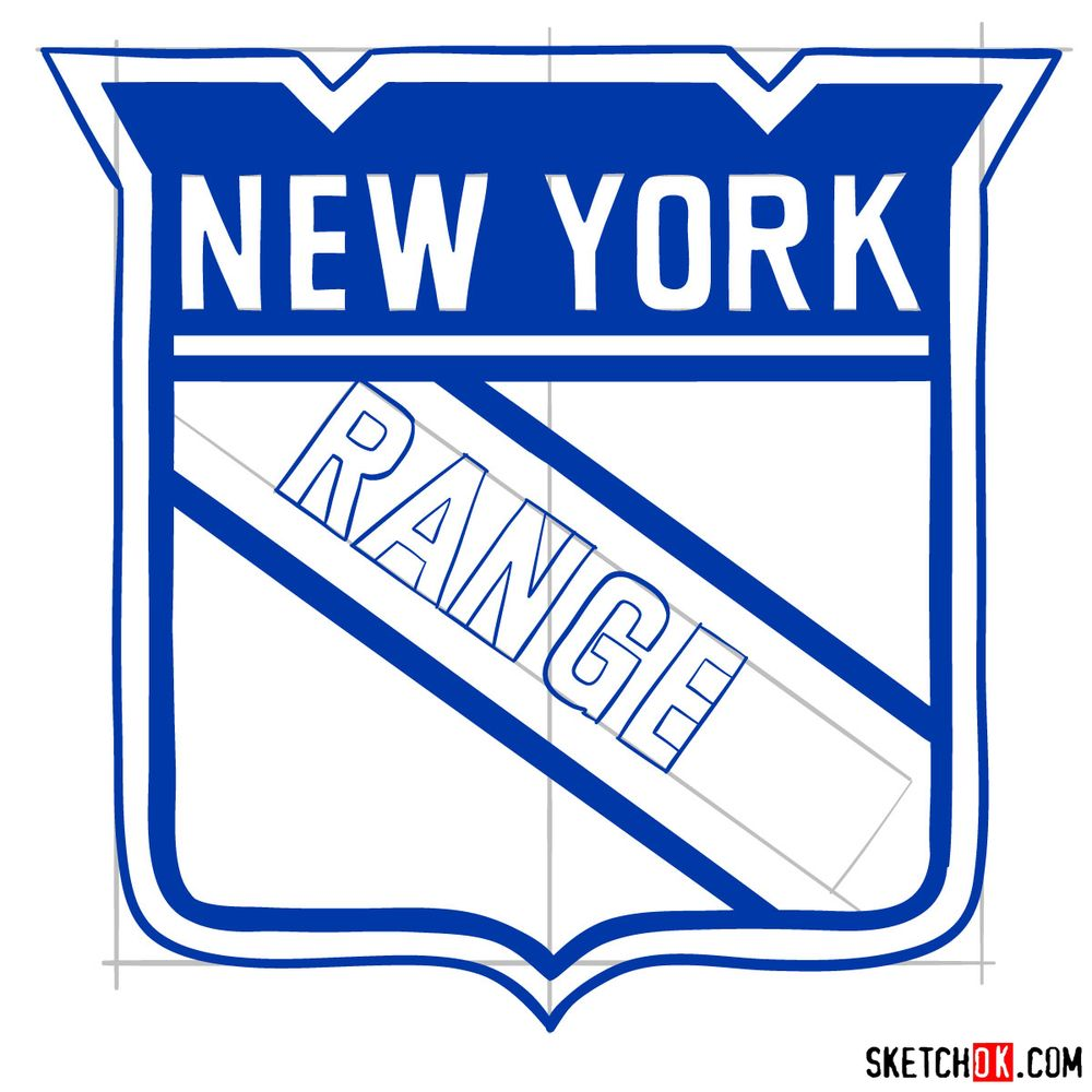 How to draw The New York Rangers logo - step 12
