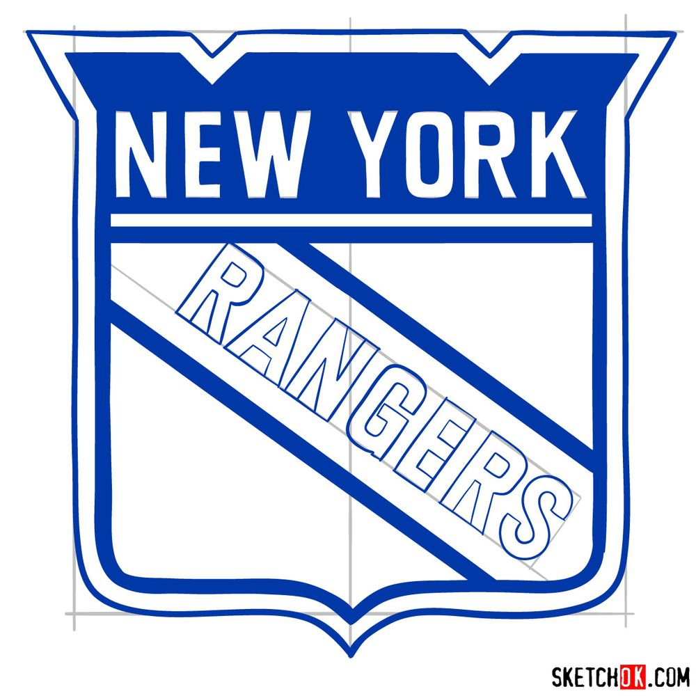 How to draw The New York Rangers logo - step 13