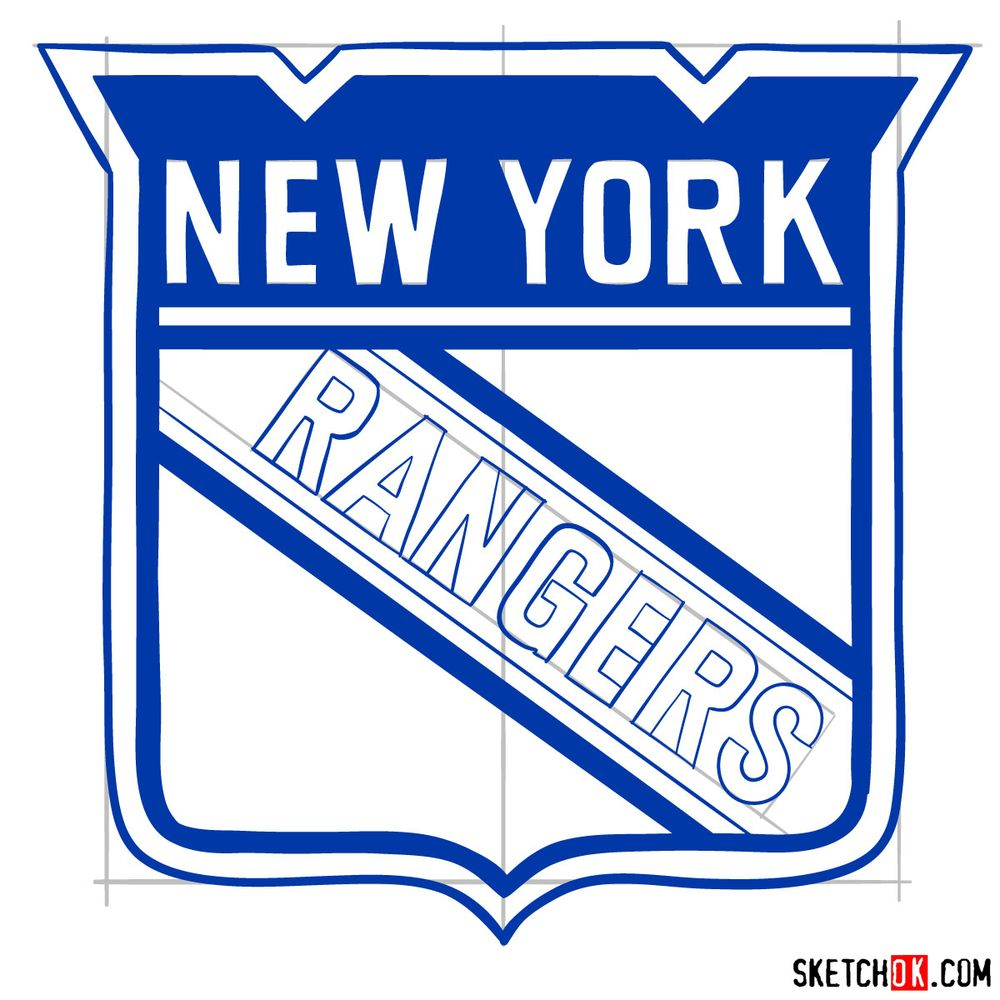 How to draw The New York Rangers logo - step 14