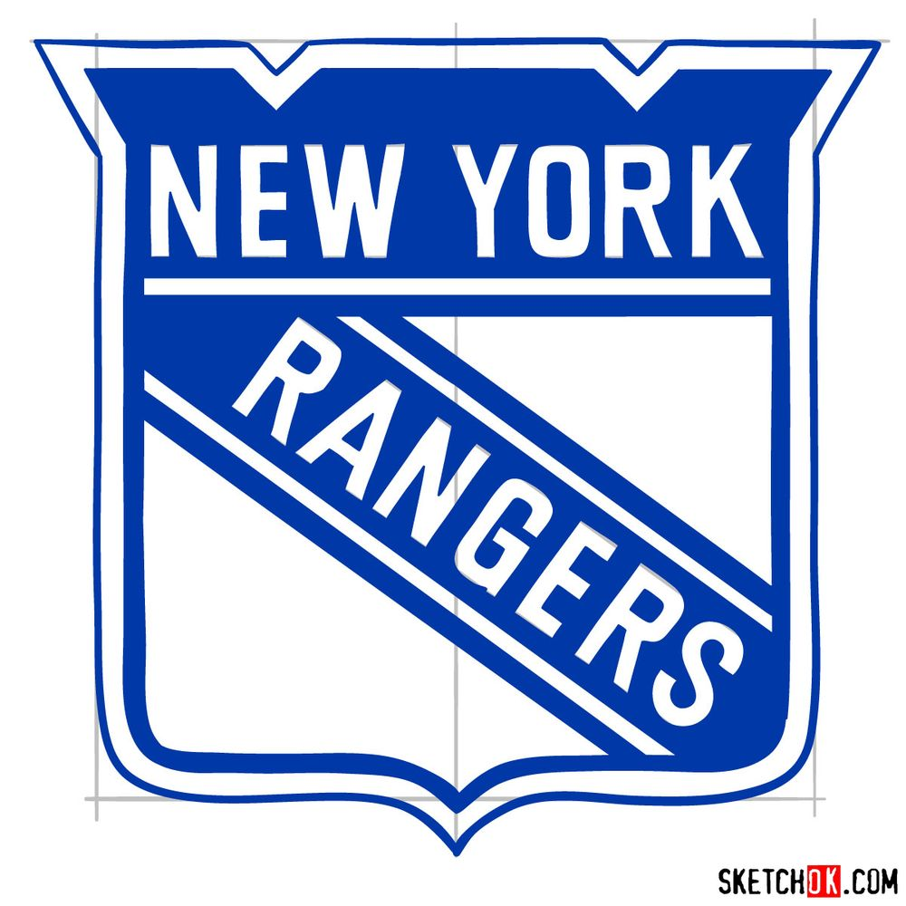 How to draw The New York Rangers logo - step 15