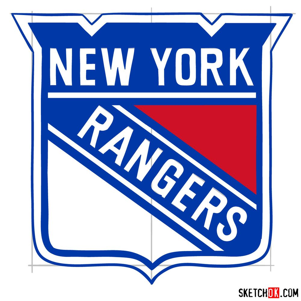 How to draw The New York Rangers logo - step 16